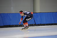 SCHAATSEN: SALT LAKE CITY: Utah Olympic Oval, 13-11-2013, Essent ISU World Cup, training, Benjamin Macé (FRA), ©foto Martin de Jong