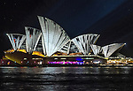 The Sydney Opera House illuminated during the Vivid Light Festival.