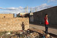 Tunisia, Sidi Bouzid, il dopo rivoluzione: un ragazzino vicino alla casa di Mohamed Bouazizi, l'attivista che si &egrave; dato fuoco dando inizio alla rivolta tunisina.<br /> TUNISIA after spring revolution