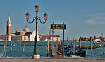 A gondola stop in Venice, Italy with the Island of San Giorgi Maggiore in the background