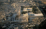 Israel, an aerial view of Jerusalem Old City and Jerusalem Archaeological Park