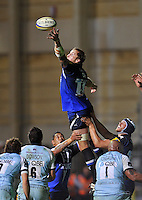Dominic Day reaches out to claim the ball at a lineout. Aviva Premiership match, between Bath Rugby and Northampton Saints on September 14, 2012 at the Recreation Ground in Bath, England. Photo by: Patrick Khachfe / Onside Images