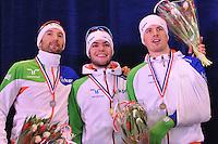 SHORTTRACK: AMSTERDAM: 05-01-2014, Jaap Edenbaan, NK Shorttrack, eindklassement Heren, Niels Kerstholt, Sjinkie Knegt, Freek van der Wart, ©foto Martin de Jong