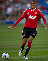 16 July 2010 Manchester United Chris Smalling No. 12 in action during the warm-up in an international friendly  between Manchester United and Celtic FC at the Rogers Centre in Toronto.