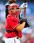 22 April 2010: Washington Nationals' catcher Ivan Rodriguez in action against the Colorado Rockies at Nationals Park in Washington, DC. The Rockies shut out the Nationals 2-0 gaining a 2-2 series split. Mandatory Credit: Ed Wolfstein Photo