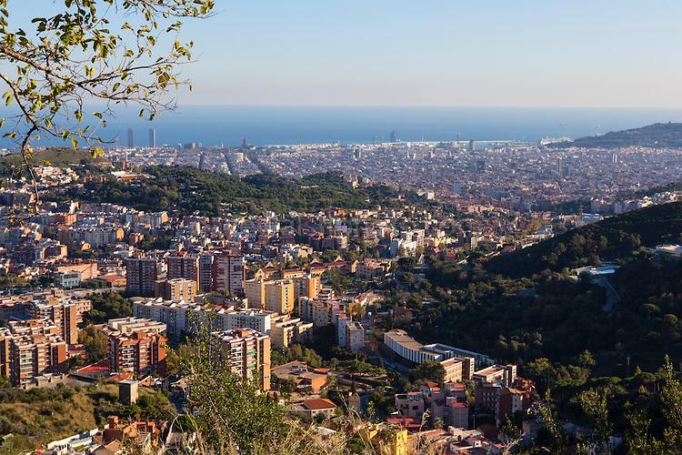 Barcelona, Catalonia, Spain - seen from the Mirador de Barcelona on the road to Tibidabo