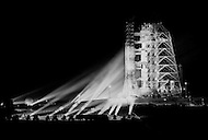 July 16, 1969., Cape Kennedy, Florida, USA --- Apollo XI on the launch pad the night before its departure.