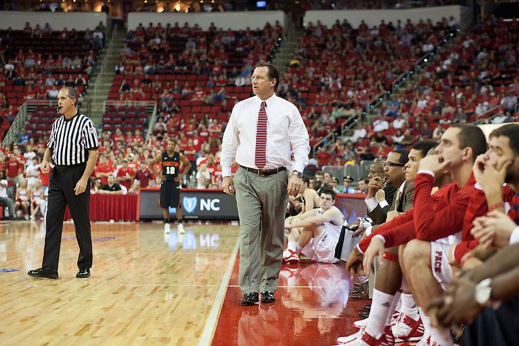 Head Coach, Mark Gottfried, NC State University vs Princeton at the RBC Center, Raleigh, NC, Wednesday, November 16, 2011. .