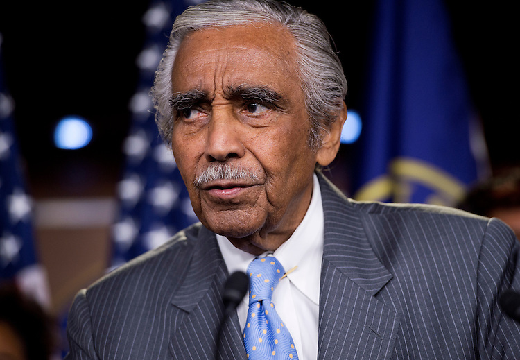 UNITED STATES - AUGUST 01:  Rep. Charlie Rangel, D-N.Y., speaks during a Congressional Progressive Caucus news conference in the Capitol Visitor Center to introduce the Deal for All resolution.  The resolution would address policies that protect the middle class such as social security, medicare and medicaid, and address corporate loopholes that allow companies to pay less in taxes.  (Photo By Tom Williams/CQ Roll Call)