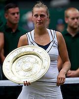 PETRA KVITOVA (CZE) (5) against MARIA SHARAPOVA (RUS) (5) in the Final of the Ladies Singles. Petra Kvitova beat Maria Sharapova 6-3 6-4..Tennis - Grand Slam - Wimbledon - AELTC - London- Day 12 - Sat July 2nd 2011..© AMN Images, Barry House, 20-22 Worple Road, London, SW19 4DH, UK..+44 208 947 0100.www.amnimages.photoshelter.com.www.advantagemedianetwork.com.