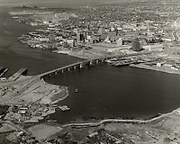 1964 January 21..Redevelopment.Downtown South (R-9)..Looking North at Downtown from Berkley..Abourjilie.NEG#.NRHA# 1085..