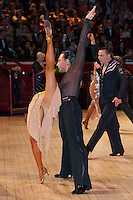 Michal Malitowski and Joanna Leunis from Poland perform their dance during the professional latin-american competition of the International Championships held in the Royal Albert Hall in London, United Kingdom. Thursday, 13. October 2011. ATTILA VOLGYI