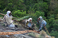 At the top of the cliff, Then Mari's assistants follow instructions, prepare smokers and pass on equipment. Irula culture is rich with oral traditions of tales, songs and sayings about honey hunting, as well as stories of impossible love and lovers running away together to live their passion.