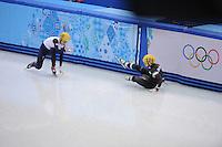 OLYMPICS: SOCHI: Iceberg Skating Palace, 13-02-2014, Shorttrack, 500m Relay Ladies, Finals, Elise Christie (#116 | GBR), Arianna Fontana (#124 | ITA), ©photo Martin de Jong