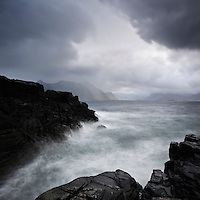 Stormy sea and rugged coastline, Lofoten islands, Norway