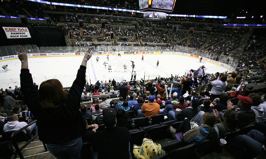 Fans cheer during the third period of an AHL hockey game between the San Antonio Rampage and the Rockford IceHogs, Saturday, Feb. 28, 2009, at the AT&T Center in San Antonio, Texas. Rockford won 3 - 2 in a shootout. (Darren Abate/pressphotointl.com)