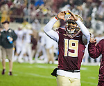 Florida State kicker Roberto Aguayo celebrates after kicking the game winning field goal with 3 seconds left in the second half of an NCAA college football game in Tallahassee, Fla., Saturday, Nov. 22, 2014.  Florida State defeated Boston College 20-17.  (AP Photo/Mark Wallheiser)