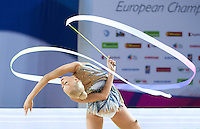 YANA KUDRYAVTSEVA of Russia performs with ribbon at 2016 European Championships at Holon, Israel on June 18, 2016.