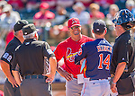 4 March 2016: St. Louis Cardinals Manager Mike Matheny exchanges lineup cards and reviews ground rules with Houston Astros Manager A.J. Hinch and the umpires prior to a Spring Training pre-season game at Osceola County Stadium in Kissimmee, Florida. The Cardinals fell to the Astros 6-3 in Grapefruit League play. Mandatory Credit: Ed Wolfstein Photo *** RAW (NEF) Image File Available ***