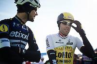 Tom Boonen (BEL/Etixx-QuickStep) &amp; Maarten Wynants (BEL/LottoNL-Jumbo) chatting before the start<br /> <br /> Kuurne-Brussel-Kuurne 2016