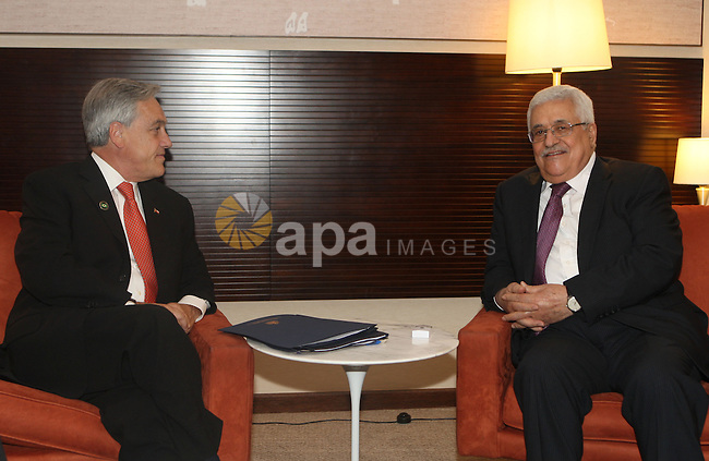 Palestinian President Mahmoud Abbas (Abu Mazen) during a meeting with president of Chile, Sebastian Pinera, In Brasilia on January. 1, 2010. Photo by Thaer Ganaim