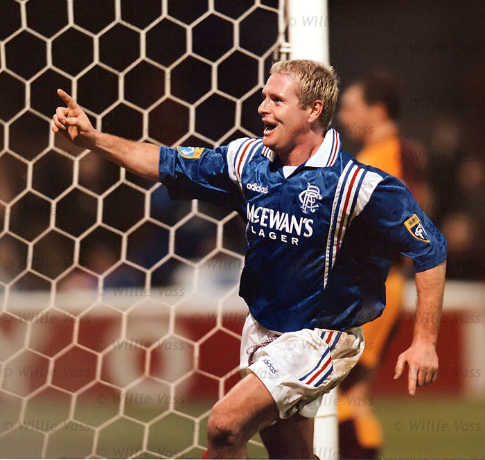 Paul Gascoigne celebrates scoring at Fir Park, Jan 1997
