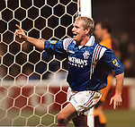Paul Gascoigne celebrates scoring at Fir Park, Jan 1997