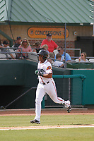 Down East Wood Ducks catcher Josh Morgan (3) rounding the bases after homering during a game against the Salem Red Sox at Grainger Stadium on April 16, 2017 in Kinston, North Carolina. Salem defeated Down East 9-2. (Robert Gurganus/Four Seam Images)