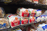 Loaves of Wonder Bread in a supermarket New York on Friday, August 24, 2012. The iconic maker of Twinkies, as well as Wonder Bread and other favorites foods has entered Chapter 11 for the second time in ten years having been saddled with almost $1 billion in debt. (© Richard B. Levine)