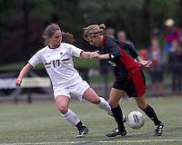 Boston College forward Alaina Beyar (17) disrupts NC State forward Meagan Proper (3). Boston College defeated North Carolina State,1-0, on Newton Campus Field, on October 23, 2011.