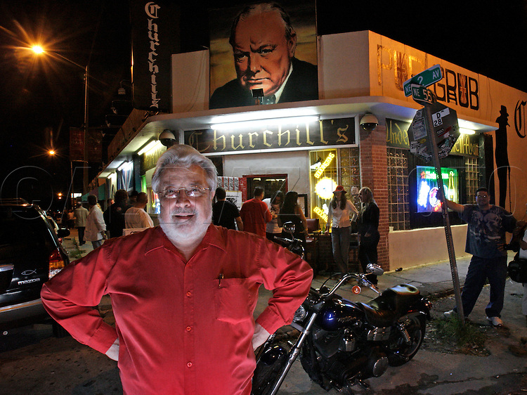 Churchill's Hideway at 5501 NE 2nd Avenue in Little Haiti celebrates it's 30th anniversary as a rock club in Miami, Saturday, August 29, 2009. Here, owner Dave Daniels takes it all in while standing on 2nd Avenue.
