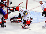 17 October 2009: Ottawa Senators goaltender Pascal Leclaire makes a third period save against the Montreal Canadiens at the Bell Centre in Montreal, Quebec, Canada. The Senators defeated the Canadiens 3-1. Mandatory Credit: Ed Wolfstein Photo