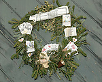 "Holiday Christmas wreath Colonial Williamsburg Virginia, Christmas wreath, Holiday wreath, wreath, wreath with cards and papers,Colonial Williamsburg Virginia is historic district 1699 to 1780 which made colonial Virgnia's Capital, for most of the 18th century Williamsburg was the center of government education and culture in Colony of Virginia, George Washington, Thomas Jefferson, Patrick Henry, James Monroe, James Madison, George Wythe, Peyton Randolph, and others molded democracy in the Commonwealth of Virginia and the United States, Motto of Colonial Williamsburg is ""The furture may learn from the past,"""