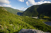 Franconia Notch State Park from Eagle Cliff in the White Mountains, New Hampshire USA during the summer months.