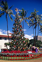 Honolulu, Oahu, Hawaii, HI, USA - Christmas Tree and Decorations at Honolulu Hale (City Hall)