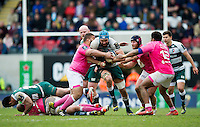 Graham Kitchener of Leicester Tigers takes on the Stade Francais defence. European Rugby Champions Cup quarter final, between Leicester Tigers and Stade Francais on April 10, 2016 at Welford Road in Leicester, England. Photo by: Patrick Khachfe / JMP