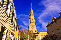 Street scene on Church Street with St. Philip's Episcopal Church in the historic district of Charleston, South Carolina