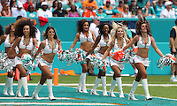 Miami Dolphins Cheerleader Holly Warden (right) from Great Britain Makes her home Debut  on the 25th September 2016 at  the Hard Rock Stadium Miami Florida