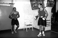 Roma  .Incontro  di boxe dilettanti.Pugili prima di un incontro alla Palestra Popolare San Lorenzo