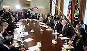 United States President Barack Obama speaks during a Cabinet Meeting in the Cabinet Room , January 31, 2012 at the White House in Washington, DC. .Credit: Olivier Douliery / Pool via CNP