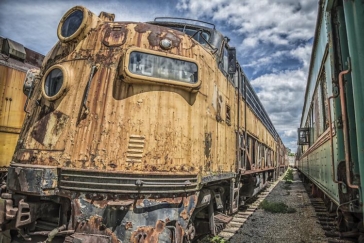 Rusting old locomotive left to deteriorate in American train yard