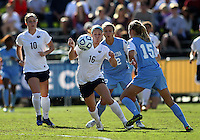 SAN DIEGO, CA - DECEMBER 02, 2012:  Katie Bowen (15) of the University of North Carolina moves in on Mallory Weber (16) of Penn State University during the NCAA 2012 women's college championship match, at Torero Stadium, in San Diego, CA, on Sunday, December 02 2012. Carolina won 4-1.