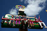 Families ride the Beetle Bounce in front of the Lost Kingdom Adventure in Legoland in Whitehaven, Florida on February 11, 2012.