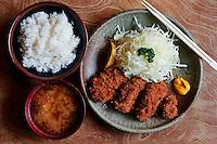 Tonkatsu set meal or teishoku at a Japanese specialty restaurant.