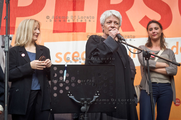 Barbara Spinelli during the presentation of Italy's Tsipras List in Piazza Affari (Milan Stock Exchange) , on April 23, 2014. Photo: Adamo Di Loreto/BuenaVista*Photo