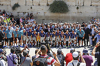 FC Barcelona football team at the Western Wall in Jerusalem's Old City. The star-studded soccer club FC Barcelona landed in Israel yesterday for a two-day visit in the country and in the Palestinian territories. They began their visit in an event in the West bank city of Hebron. Tonight, they will hold an open practice in Jaffa's Bloomfield Stadium, near Tel Aviv. August 04, 2013. Photo by Oren Nahshon