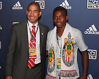 Robin Fraser with Victor Estupinan at the 2011 MLS Superdraft, in Baltimore, Maryland on January 13, 2010.