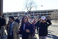Supporters of Republican Presidential front runner Donald Trump walk towards the end of the line on the University of Illinois Chicago (UIC) campus to hear Trump speak at an event scheduled for the early evening in Chicago, Illinois on March 11, 2016.  Trump cancelled the event citing a request from the Chicago Police after scuffles broke out between his supporters and protesters, who had claimed a large number of the seats, before he was to speak, something the Chicago Police denied, which maintain they were ready to work the whole night.