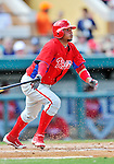 9 March 2012: Philadelphia Phillies infielder Freddy Galvis in action during a Spring Training game against the Detroit Tigers at Joker Marchant Stadium in Lakeland, Florida. The Phillies defeated the Tigers 7-5 in Grapefruit League action. Mandatory Credit: Ed Wolfstein Photo