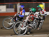 Heat 15 - Bjerre (green), Jonsson (blue), Andersen - Lakeside Hammers vs Peterborough Panthers - Sky Sports Elite League at Arena Essex, Purfleet - 31/08/07  - MANDATORY CREDIT: Gavin Ellis/TGSPHOTO - SELF-BILLING APPLIES WHERE APPROPRIATE. NO UNPAID USE. TEL: 0845 094 6026..